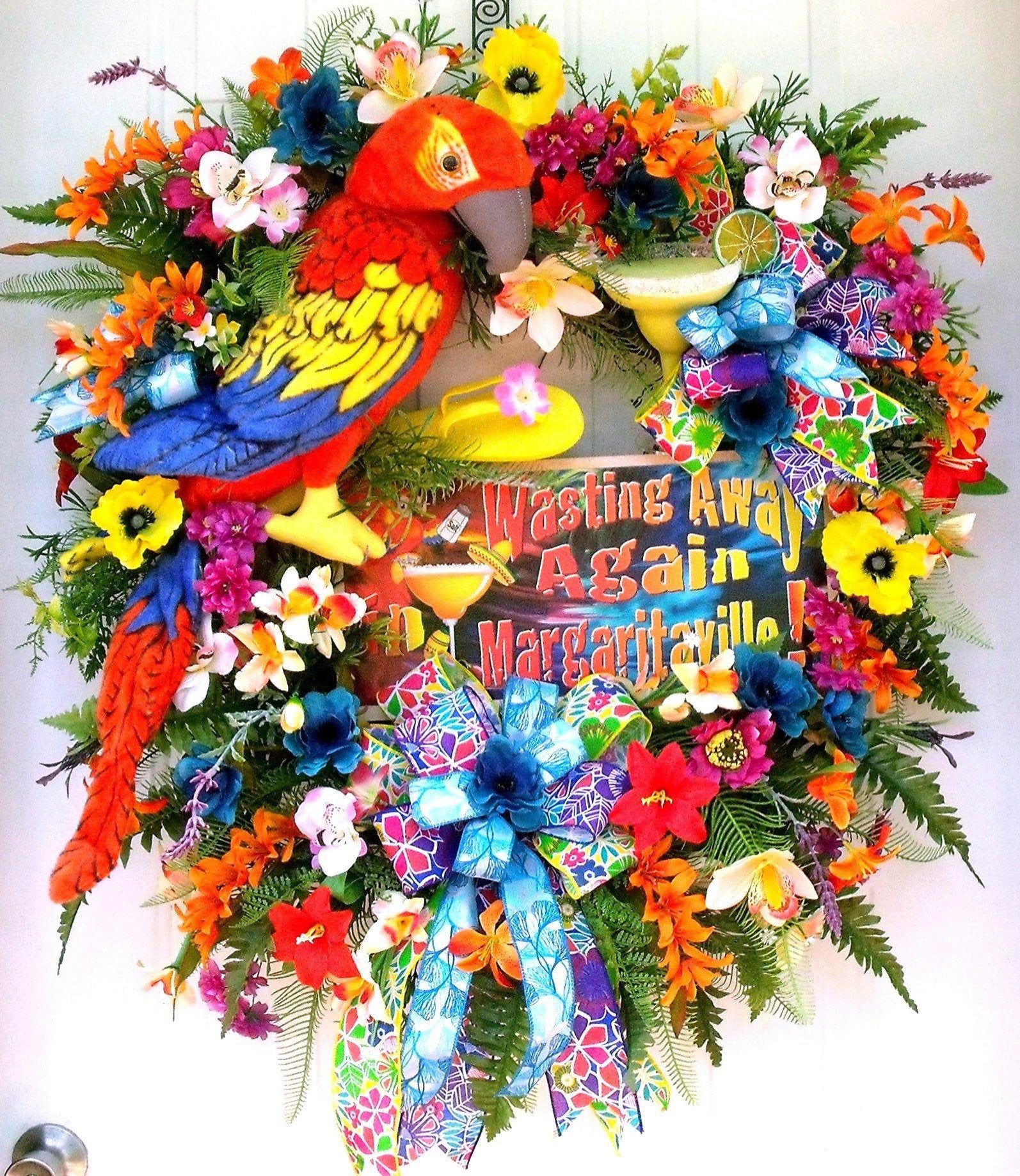 "30/"" Summer Tiki Wreath Tropical Flower Pool Luau All Occasion Door Decoration"