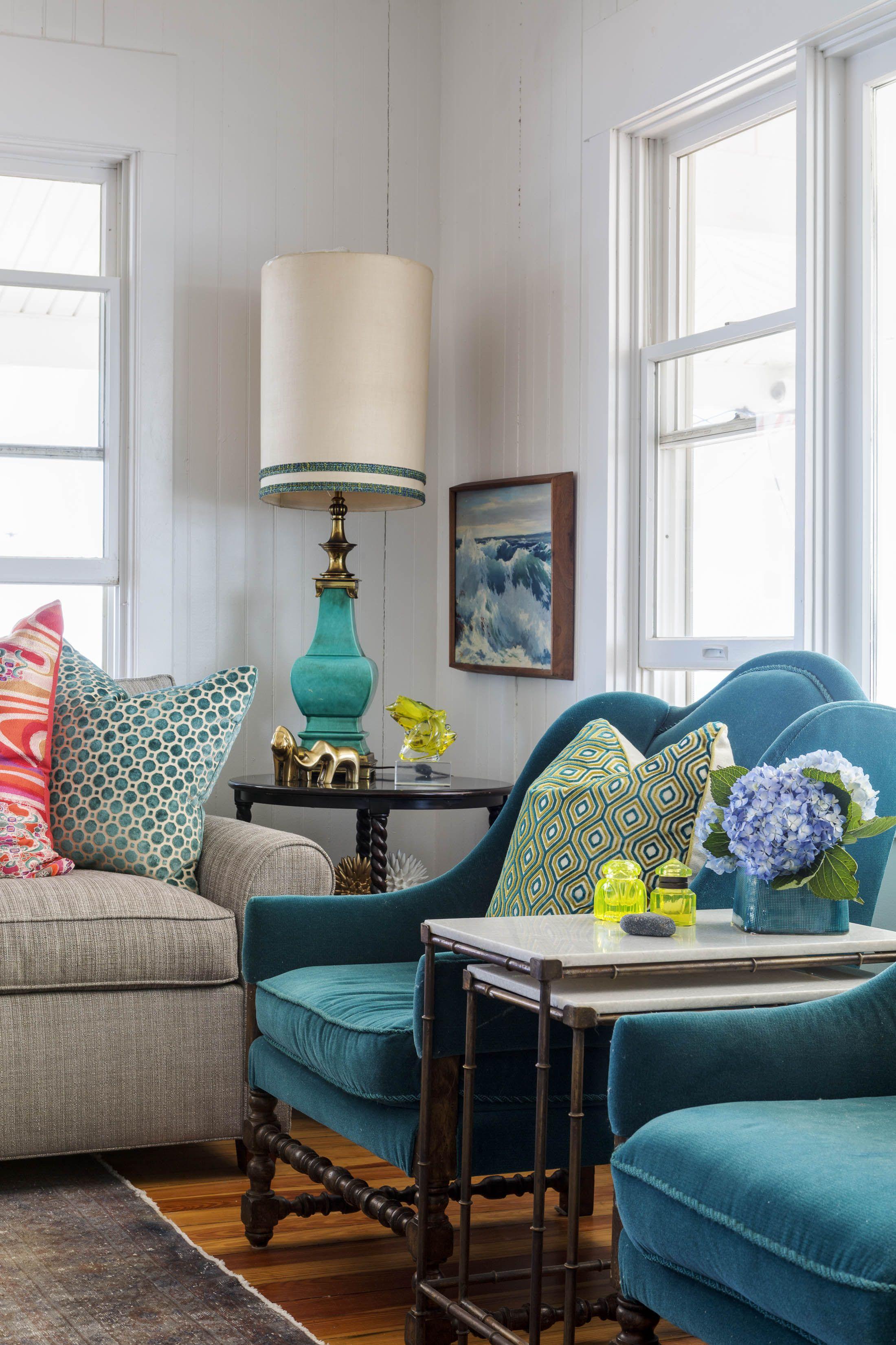 heather vaughan design, beach house, living room, upholstered ...