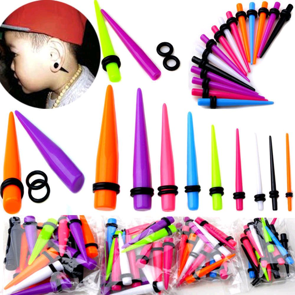 18pc Acrylic Ear Plug Taper Kit Gauges Expander Stretcher Stretching Piercing