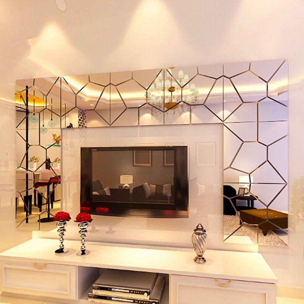 Amazon.com: OHREX 3D Acrylic Modern Mirror Decal Art Mural Wall Sticker For  Home