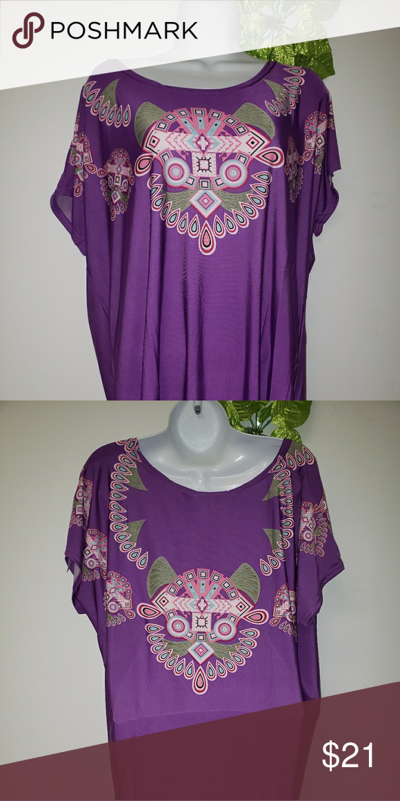 c1214c6aeee Tunic (Purple) □Type: Tunic □Designer: Love □Brand New (NWT) □Description:  Tunic Blouse □Material: Polyester & cotton □Color: Purple with white, ...