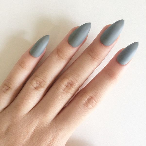 Matte Grey Stiletto Nails Hand Painted Acrylic Fake