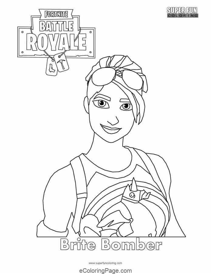 Fortnite Brite Bomber Printable Coloring Page Free