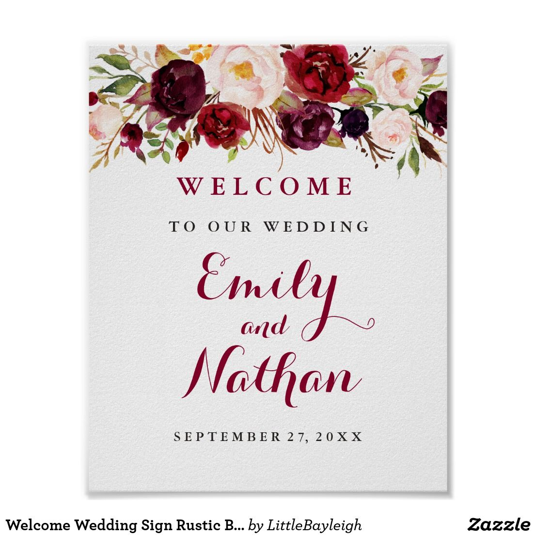 Welcome Wedding Sign Rustic Burgundy Red Floral Weddings