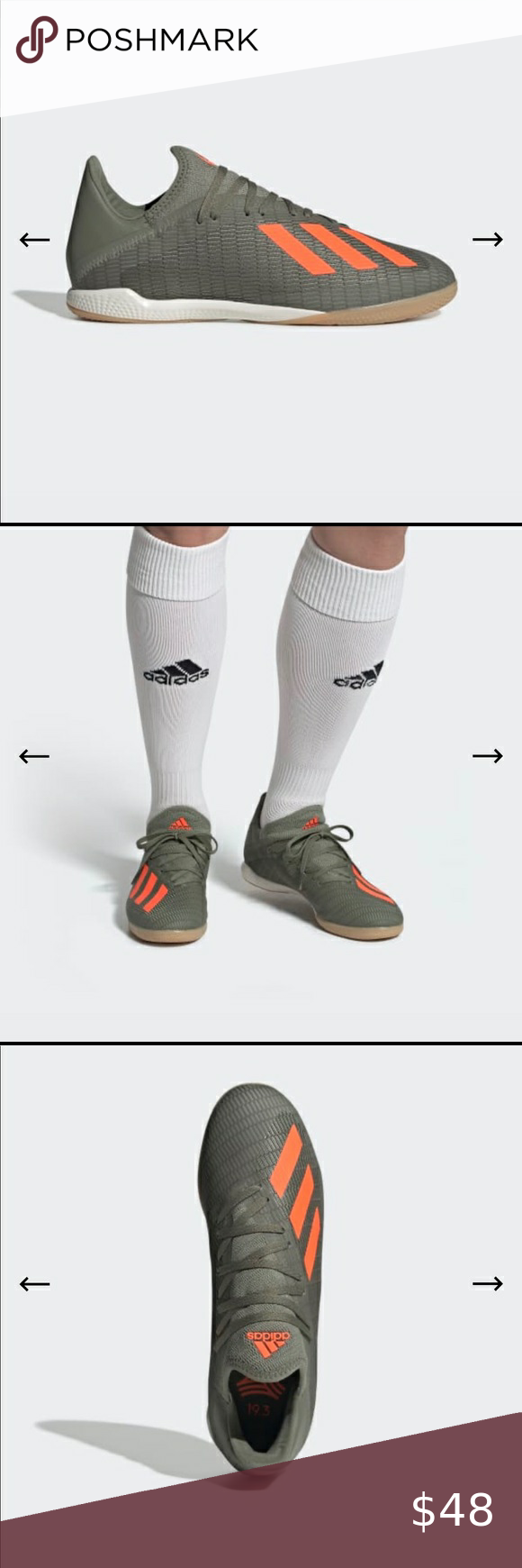 Adidas Soccer Shoes Nib Adidas X 19 3 Indoor Soccer Shoes For Men Color Is Legacy Green Solar Orange Chalk W In 2020 Adidas Soccer Shoes Soccer Shoes Adidas Soccer
