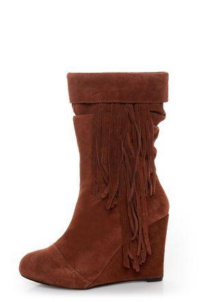 Kelsi Dagger Carousel Nutmeg Suede Fringe Cuffed Wedge Boots at LuLus.com! #lulus #holidaywear