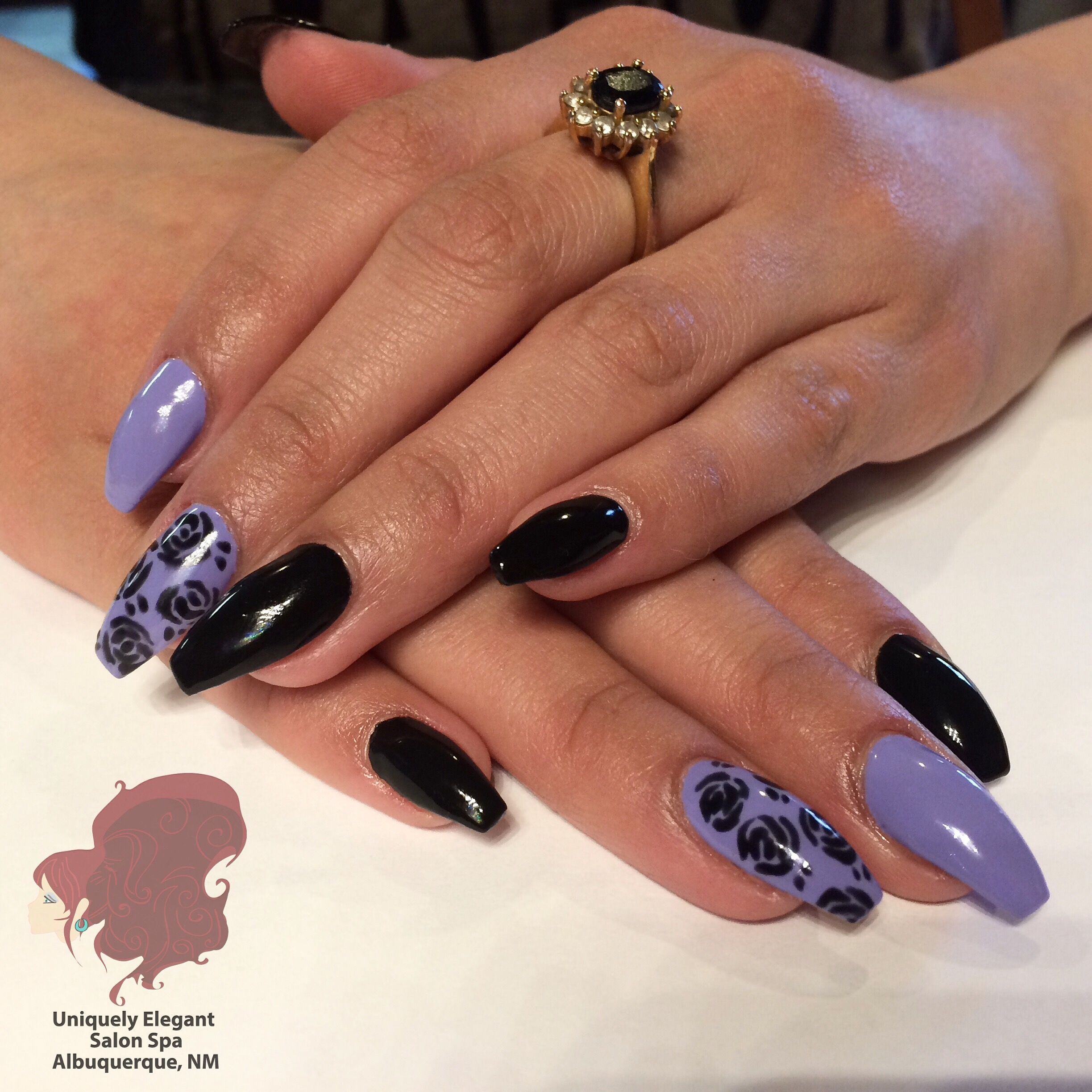 Sculptured acrylic nails with freehand nail art design for ...