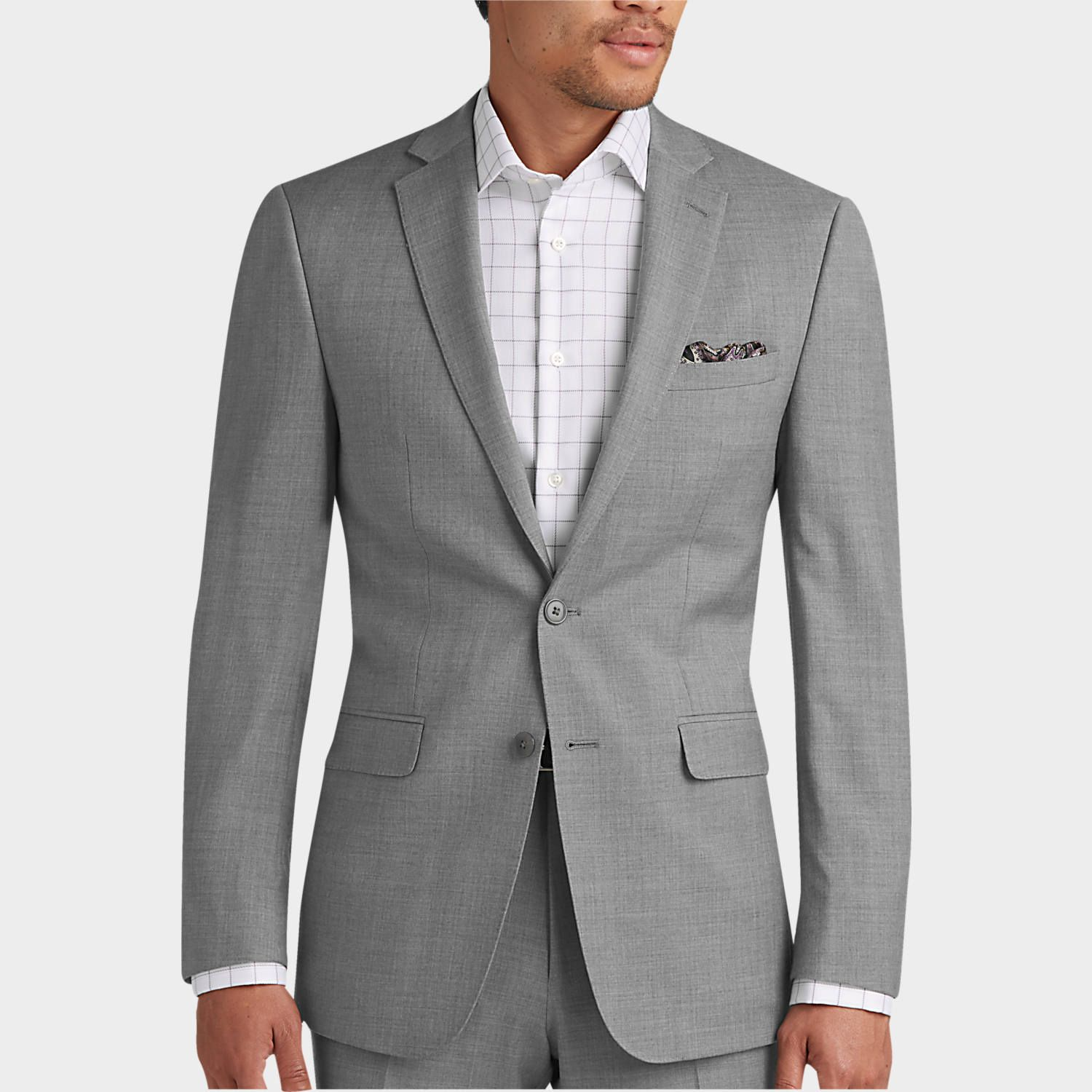 Buy A Calvin Klein Light Gray Pick Stitch Extreme Fit Suit