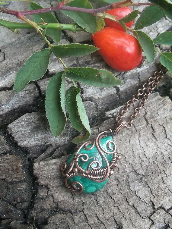 Мalachite pendant, Wire wrap necklace, Wire wrapped jewelry handmade ...