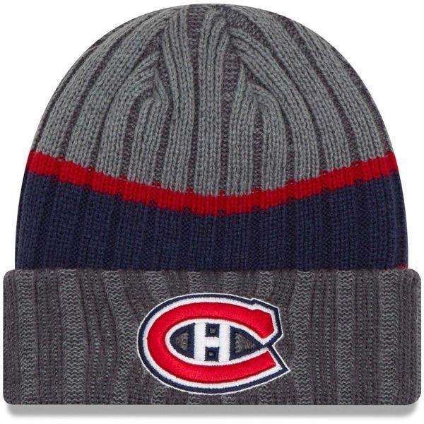 Montreal Canadiens New Era Stripe Chiller Cuffed Knit Hat - Graphite
