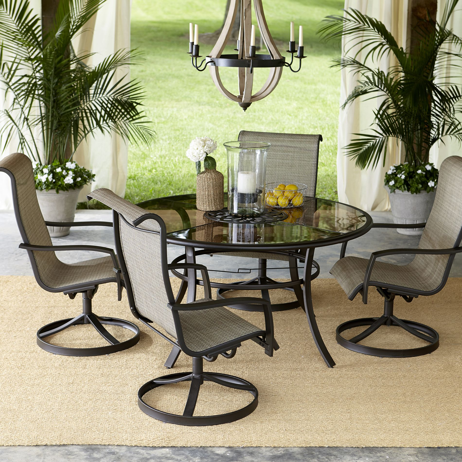 Enjoy Elegant Outdoor Dining With The Garden Oasis Providence Swivel Dining  Set In Tan