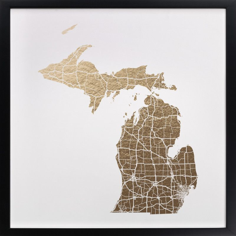 Gold In Michigan Map.Michigan Map For The Home Pinterest Map Map Art And Wall