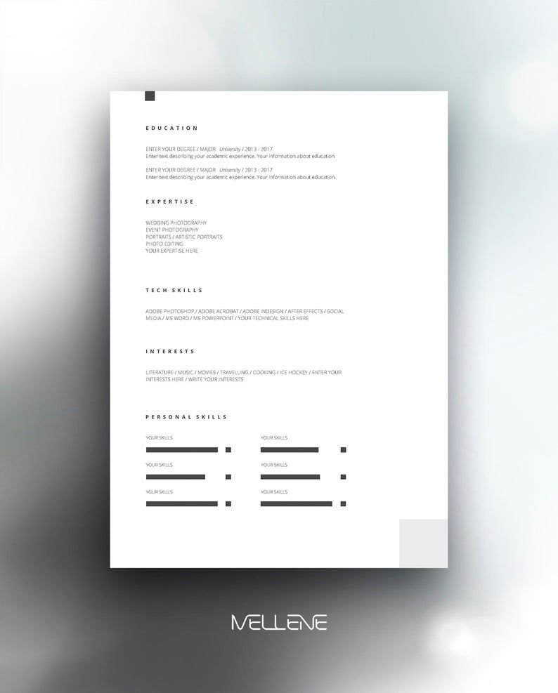 Resume Template 5 Page Cv Template Cover Letter Instant Download For Ms Word Anna Lebenslaufvorlage Lebenslauf Lebenslauf Layout