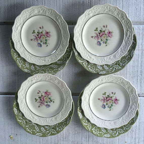 Retro 50/'s Kitchen Set of 2 Vintage J/&G Meakin English Ironstone Classic White Replacement Bread Plates Blue Floral Made in England