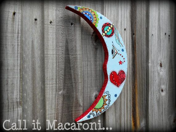 Whimsical Moon, Whimsy Moon, Doodle Moon, Wooden Half Moon, Colorful Hand Painted Wall Decor, Flowers, Magical, Man in the Moon, Kids