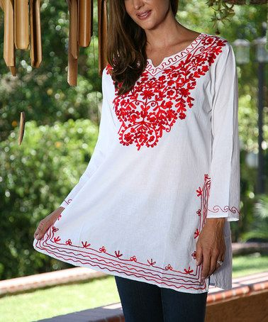 Another great find on #zulily! White & Red Notch Neck Peasant Tunic #zulilyfinds