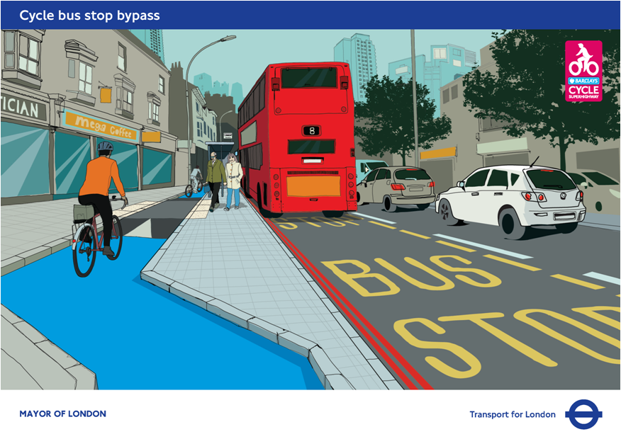 cycle route bus stop bypass Urban landscape design, Bus