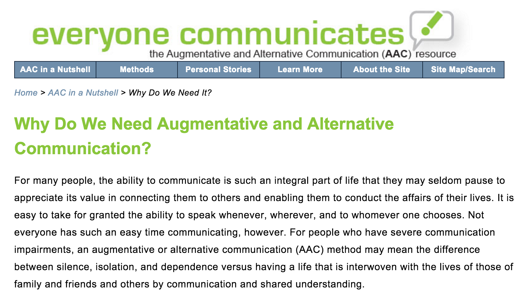 Why do we need augmentative and alternative communication from