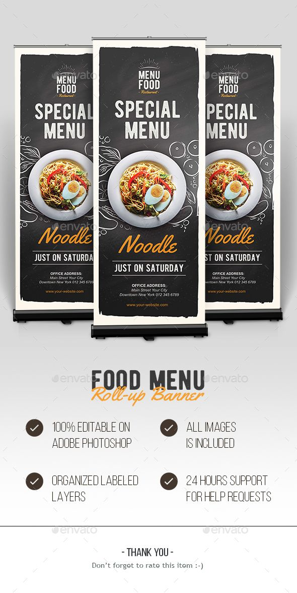 Food Roll-up Banner Rollup banner, Psd flyer templates and Flyer - menu flyer template
