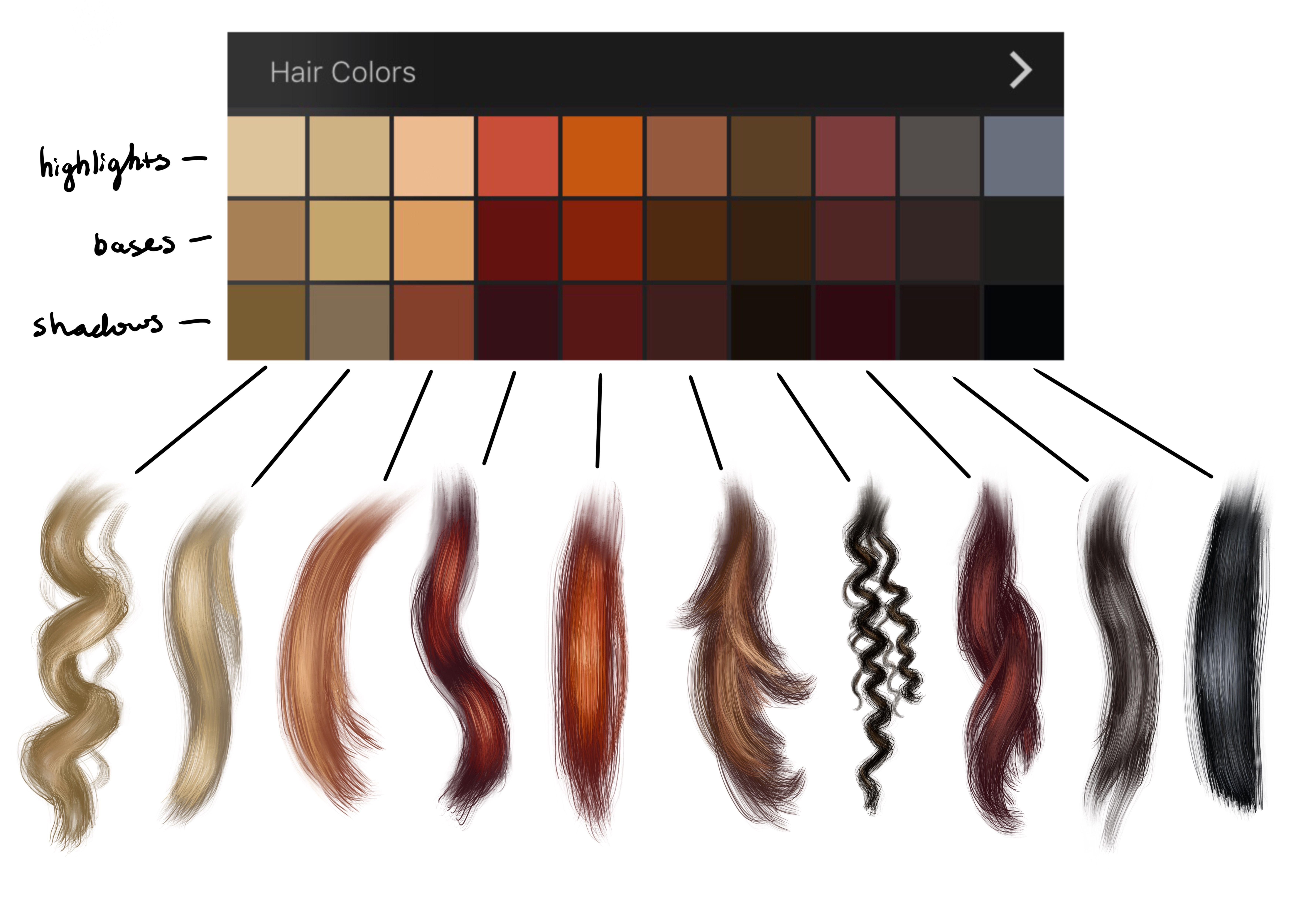 Hair Colors Palette Swatches In 2020 Palette Art Procreate Ipad Art Digital Art Tutorial