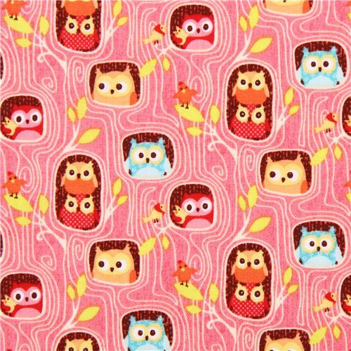 Pin By Storytelling On Happy Fabric: Pink Flappers Hideout Owl Tree Fabric Riley Blake Happy