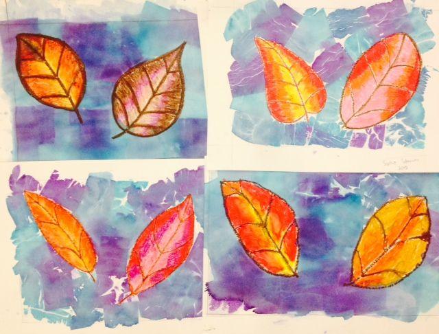 Tissue Paper Bleeding Fall Art Leaves Oil Pastel Elementary