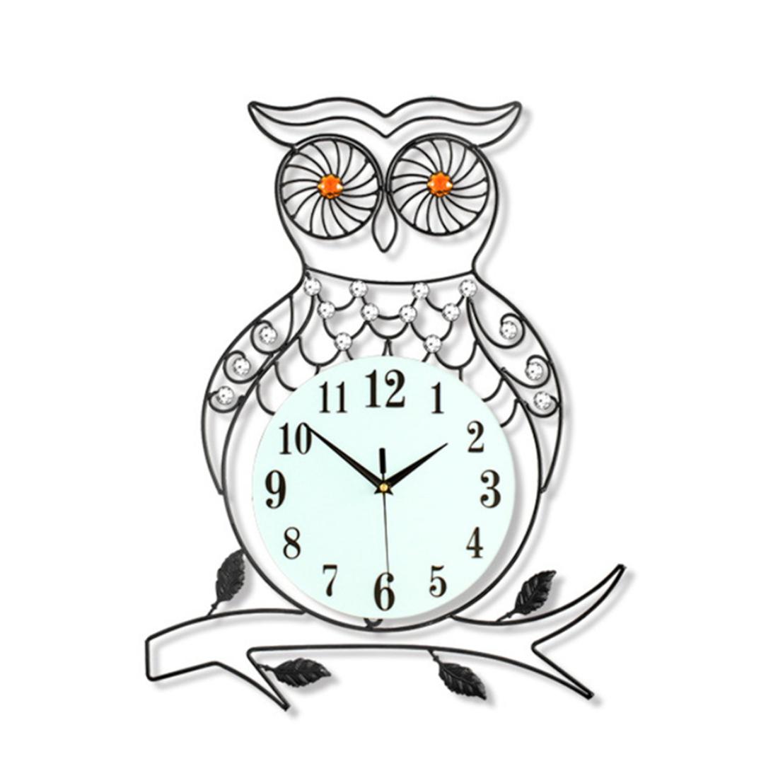 This fashionable large d owl bird design wall clock looks luxury
