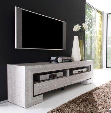 Meuble TV HI-FI Vidéo contemporain DESIREE, 2 niches - 2 tiroirs