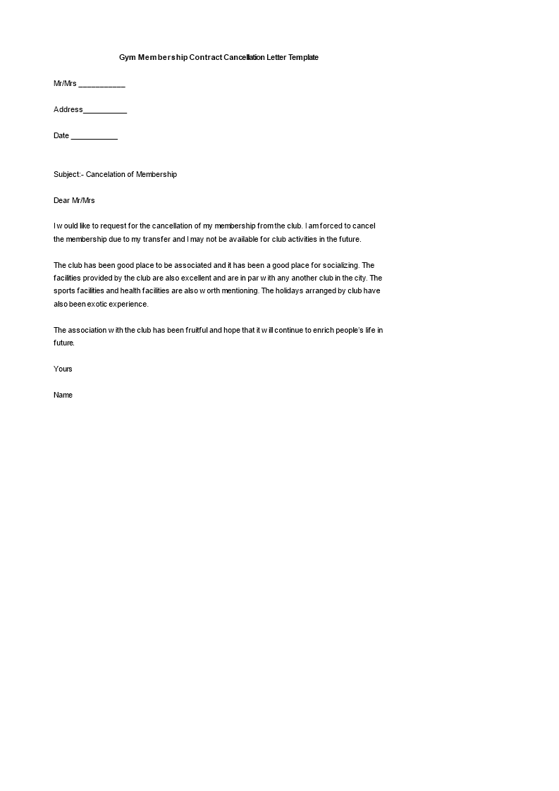 gym membership contract cancellation letter download this club membership of the gym template and after downloading you can change and customize every