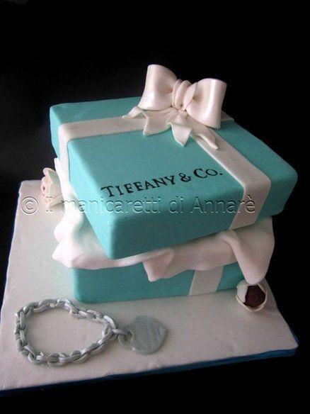 Amazing Tiffany Cake Tiffany Cakes Turquoise Wedding Cake Gift Box Cakes Funny Birthday Cards Online Overcheapnameinfo