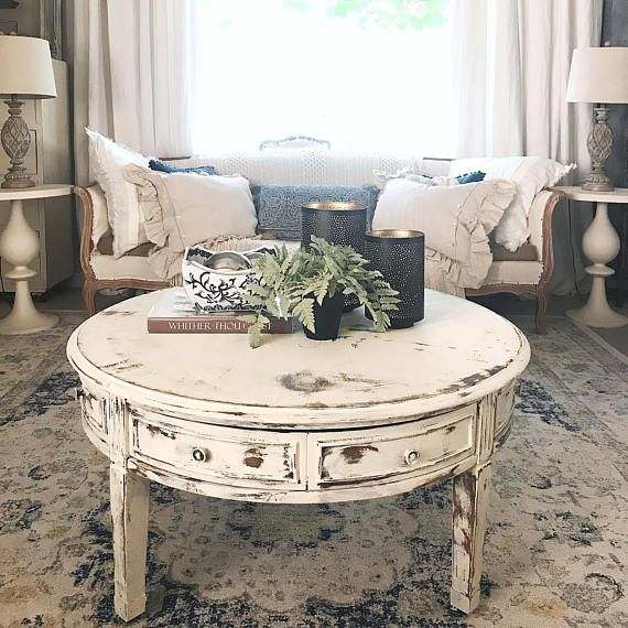 Coffee Table White Distressed Round Livingroom Table Shabby