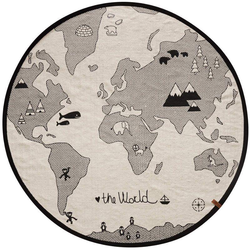 Black And White World Map Rug: World Map Rug, Childrens