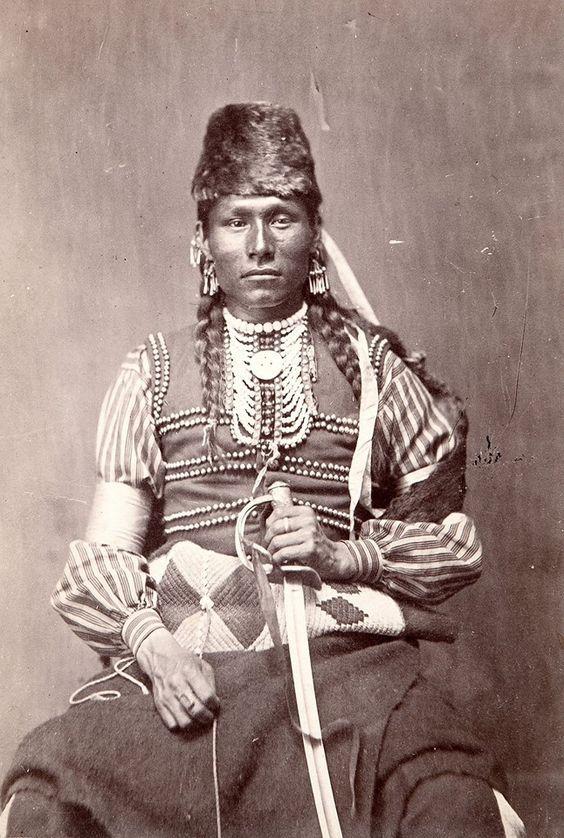 Mandan or Arikara man. Late 1800s. Photo by M. A. Breese & Co. of Fort Lincoln, Dakota Territory.
