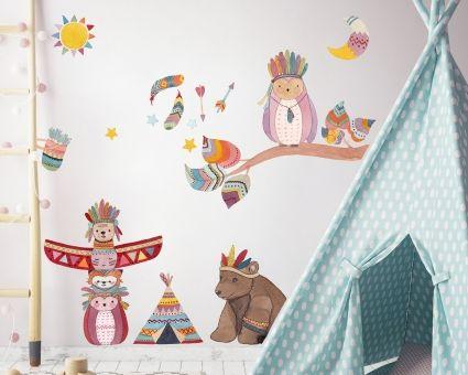wandtattoo indianer tierische kinderzimmer dekoration home decor pinterest wandtattoo. Black Bedroom Furniture Sets. Home Design Ideas