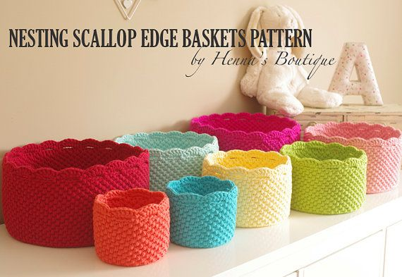 Crochet Basket Pattern - Nesting Scallop Edge Baskets - PDF ...