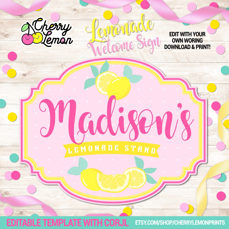 Lemonade Sunshine Birthday Printable welcome signs, Pink Lemonade party signs, Lemonade Printable birthday signs, Lemonade Template signs