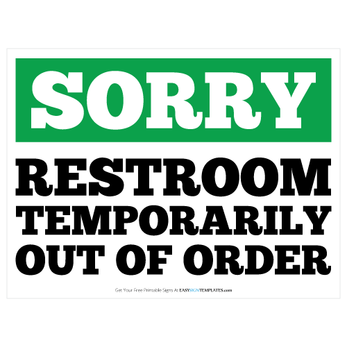 graphic relating to Out of Order Sign Template known as Restroom Out of Purchase Printable Signal Template No cost