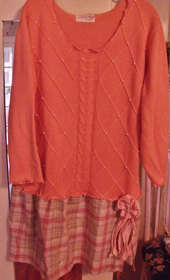 Plus Size Salmon Upstyled Sweater Dress. Plaid Linen Skirt. Pearl Deco,Funky,  Fringey Flower Pin