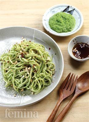 Spaghetti Pesto Bok Choy Resep Pesto Spageti Resep