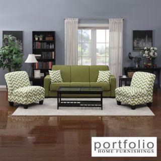 Portfolio Mali Convert-a-Couch Apple Green Linen Futon Sofa ...