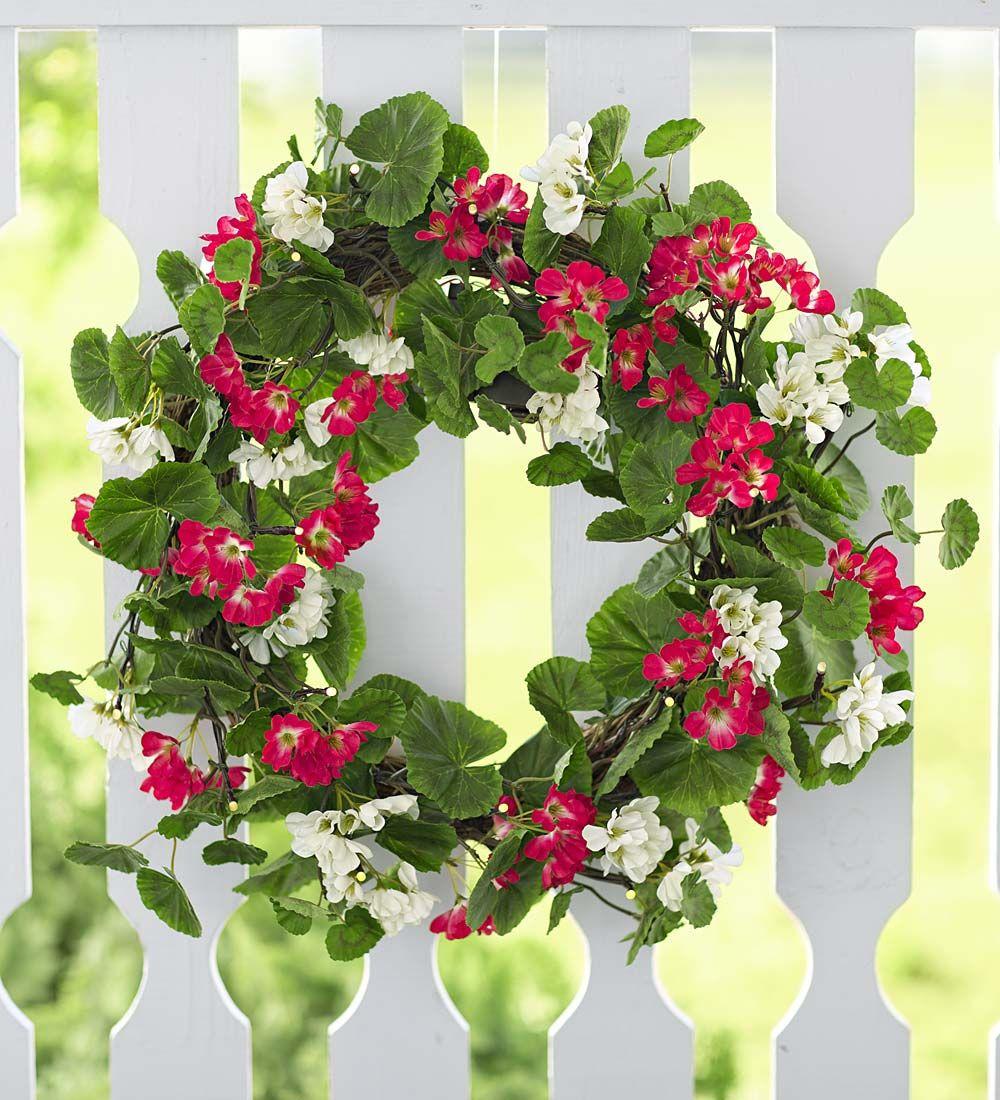 Lighted Geranium Wreath - Lush, faux geraniums, decorated ...