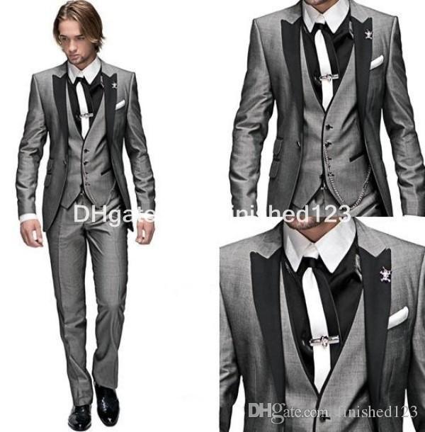 Customize One Button Blue Groom Tuxedos Groomsmen Notch Lapel Best ...