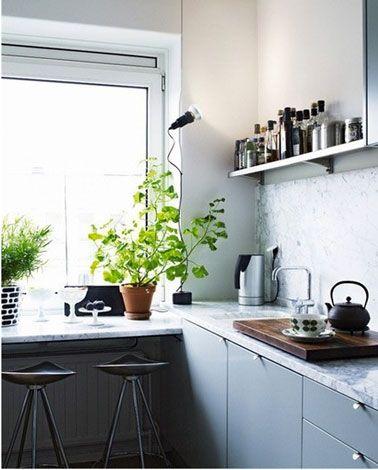 Idées Déco Pour Une Cuisine Grise Plan De Travail Gris - Idee deco cuisine grise pour idees de deco de cuisine