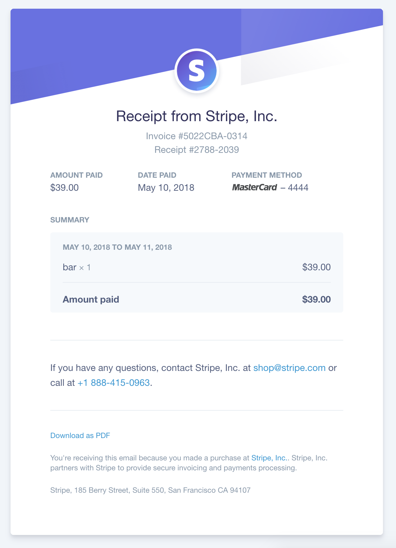 Email Receipts Stripe Email Template Design Email Template Business Mail Template Design