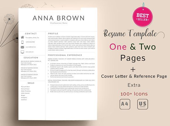 2 Page) Resume Template Word by Quality Resume on @creativemarket - contacts template word
