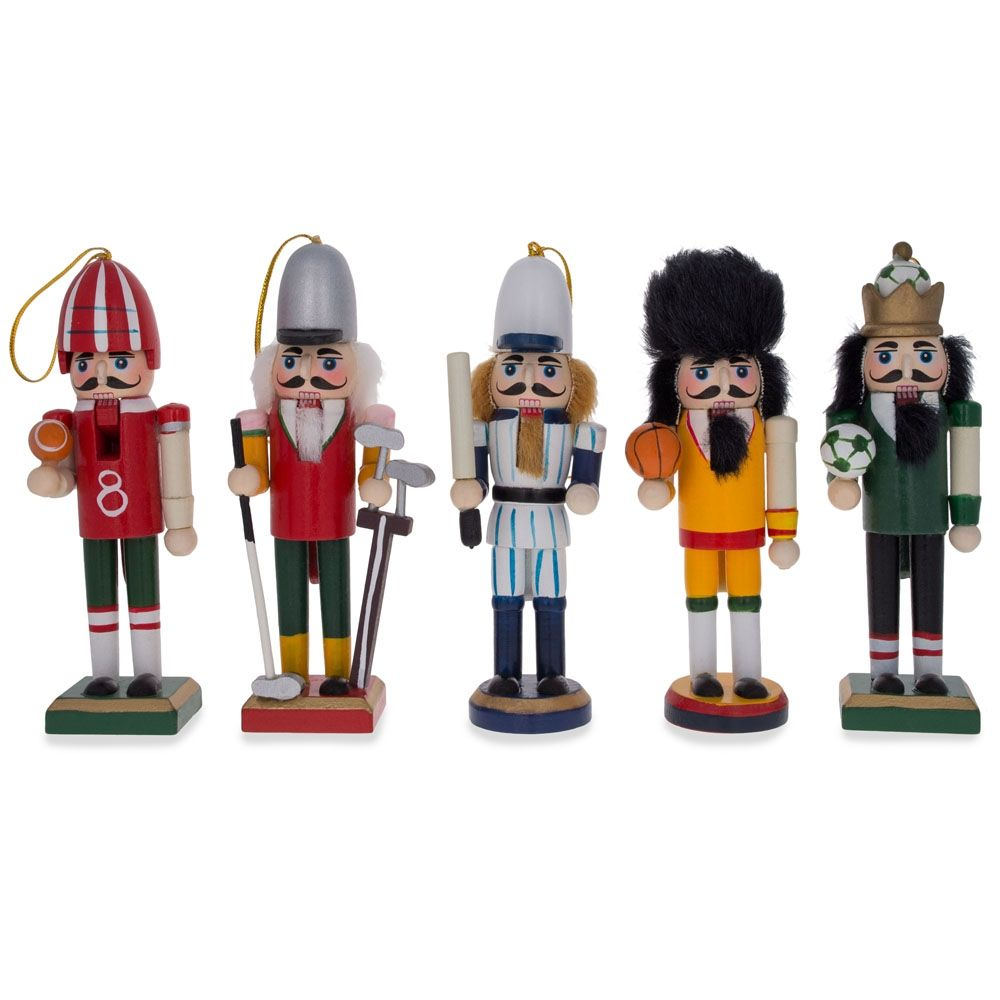 Football player ornament - Set Of 5 Football Golfer Baseball Basketball And Soccer Player Wooden Figurines Nutcracker Christmas Ornaments