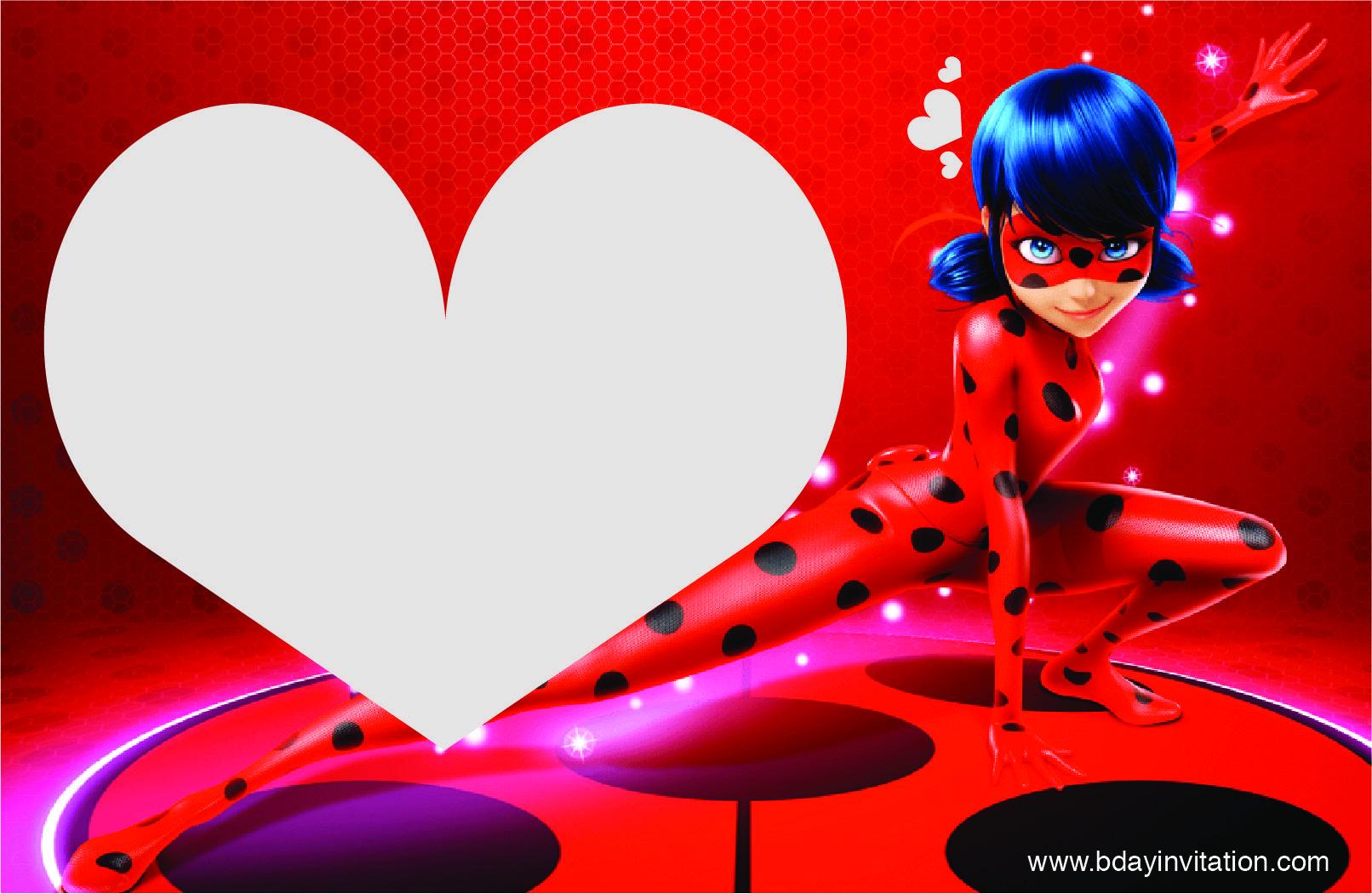Cartoni animati ladybug inviti festa di compleanno da