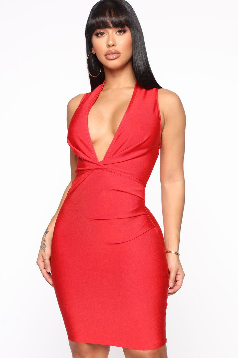 Keeping Things Private Bandage Midi Dress Red (With