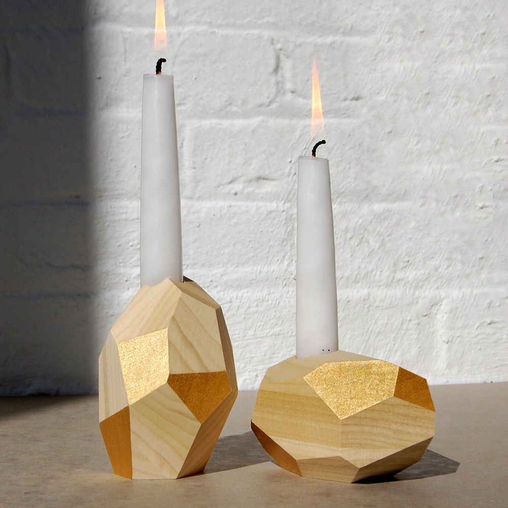 dorit k yellow gold decorative wood candle holder woods