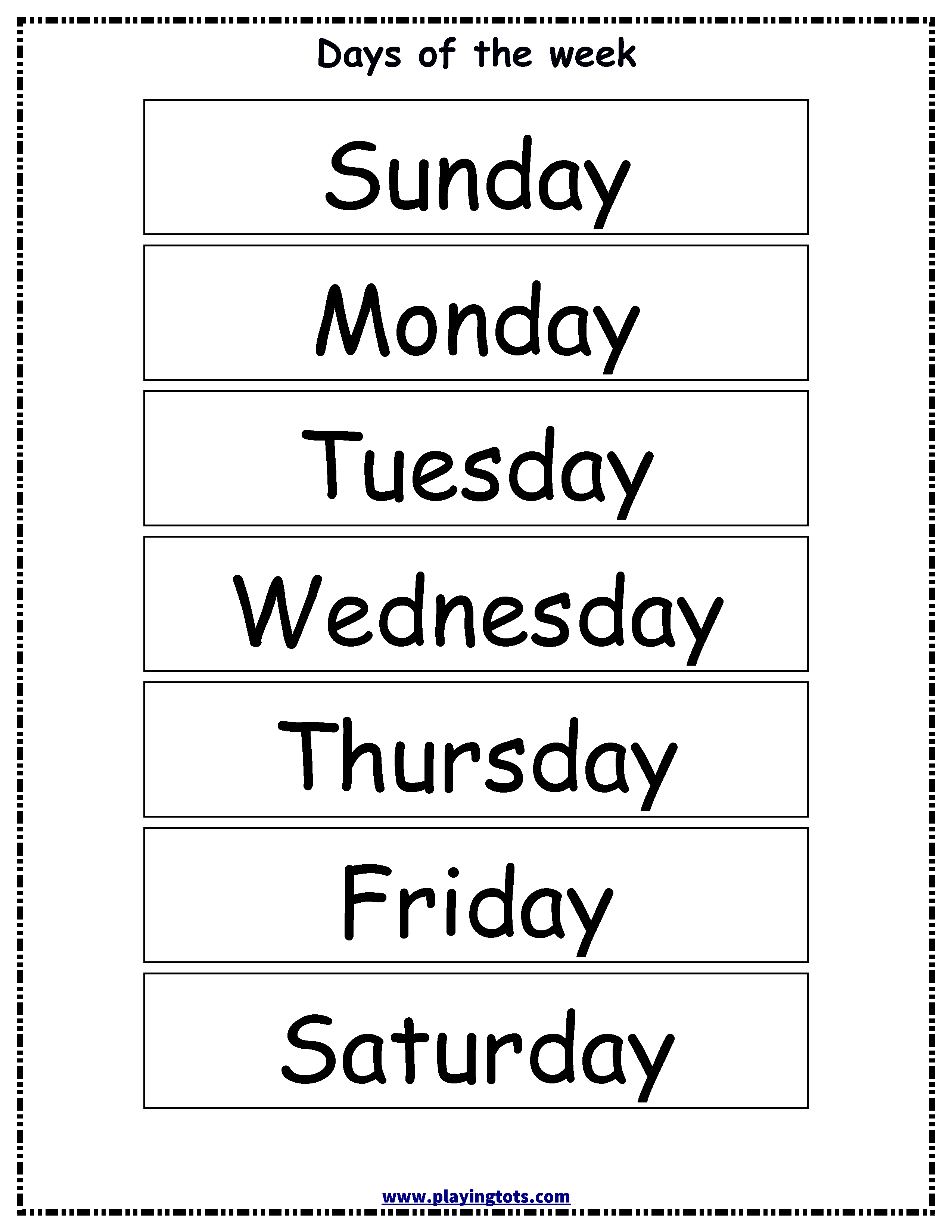 Simplicity image in printable days of the week chart